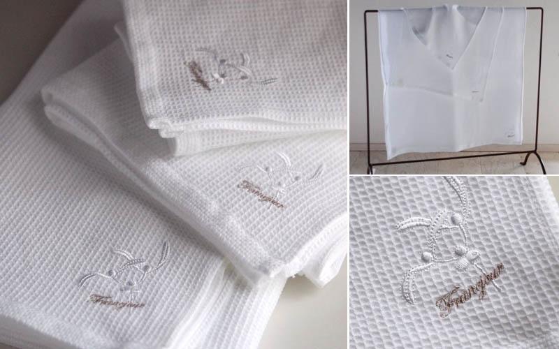 フランジュールの高級タオル、カステル。幸福のモチーフ ヤドリギを刺繍した、ソフトなタオル。